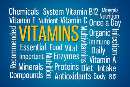 Vitamins word cloud on blue background