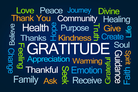 Photo for Gratitude Word Cloud on Blue Background - Royalty Free Image
