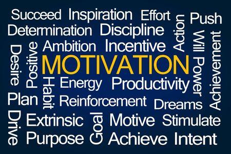 Photo pour Motivation Word Cloud on Blue Background - image libre de droit