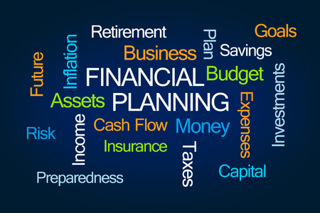 Financial Planning Word Cloud on Blue Background