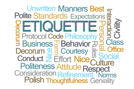 Etiquette Word Cloud on White Background