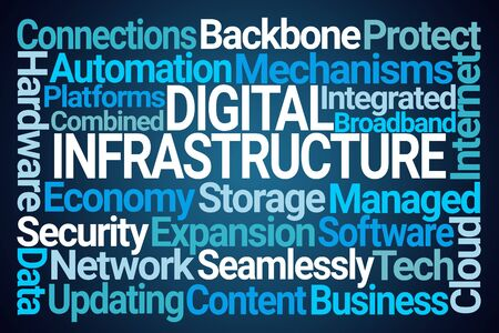 Digital Infrastructure Word Cloud on Blue Background