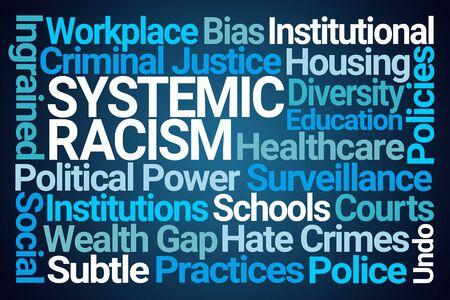 Photo pour Systemic Racism Word Cloud on Blue Background - image libre de droit