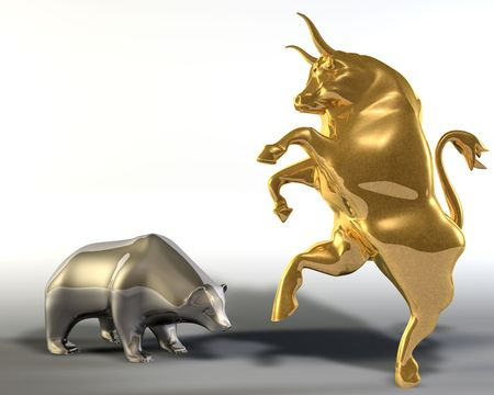 Digital 3d illustration of two statues representing a rampant golden bull and a bowed down bear