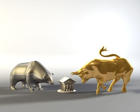 Golden bull and metal bear walking around a marble temple