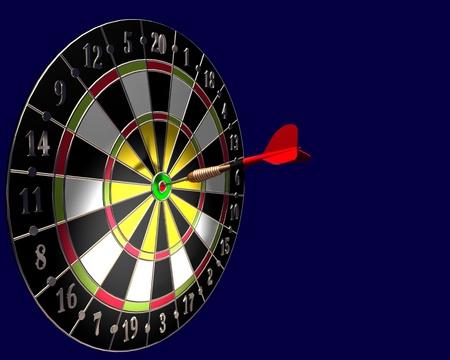3d illustration of dart board on blue background