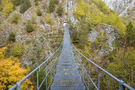 Photo for the Tibetan bridge of the village of Roccamandolfi - Royalty Free Image