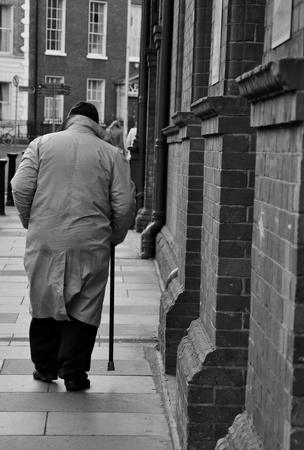 Old man walking in Dublin