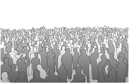 Ilustración de Illustration of large mass of people in perspective - Imagen libre de derechos
