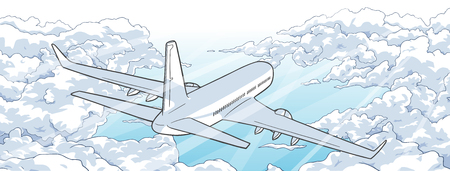 Illustration of airplane flying over clouds