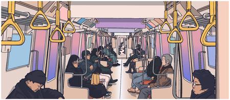 Ilustración de Illustration of people inside the train. - Imagen libre de derechos