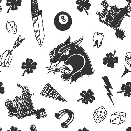 Ilustración de Traditional tattoo designs pattern design illustration. - Imagen libre de derechos
