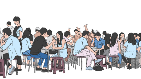 Illustration for Illustration of people drinking and eating asian street food - Royalty Free Image