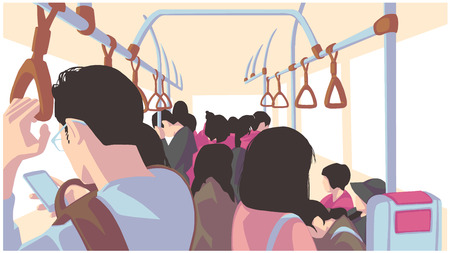 Illustration pour Illustration of people using public transport, bus, train, metro, subway - image libre de droit