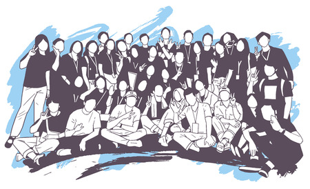 Ilustración de Illustration of young people, friends, classmates, students, colleagues, family posing for group photo - Imagen libre de derechos