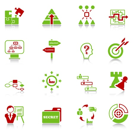 Business strategy icons - green-red series