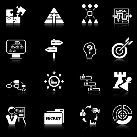 Business strategy icons - black series