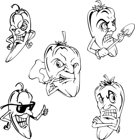 Hot peppers. Set of black and white vector cartoon illustrations.のイラスト素材