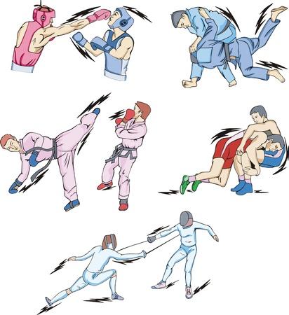 Struggle and Fighting Sports: Boxing, Judo, Taekwondo, Fencing, Freestyle and Greco-Roman Wrestling.