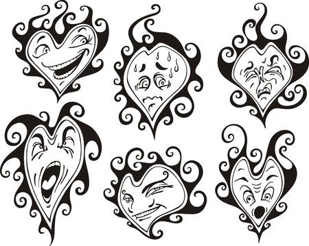 Heart shaped faces. Set of black and white vector illustrations in cartoon style.