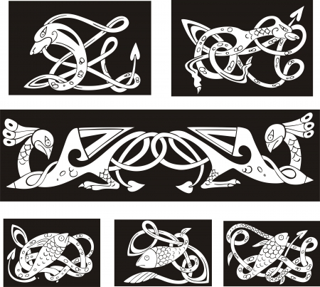 Animalistic celtic knot patterns. Set of vector illustrations.