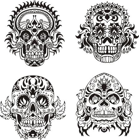 Illustration pour Floral ornamental skulls.  - image libre de droit