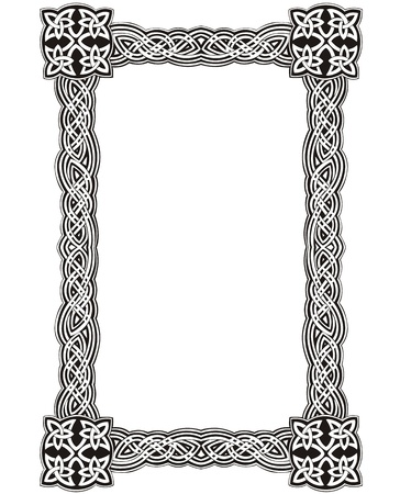 Celtic decorative knot frame. Black and white