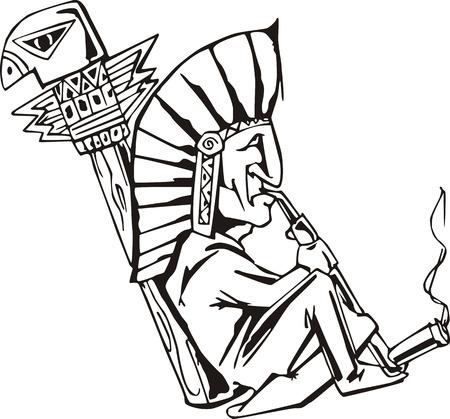 Native shaman smoking tobacco-pipe. Black and white vector illustration.