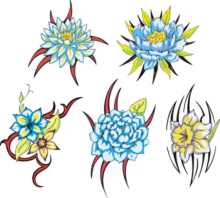 Set of miscellaneous tribal rose flower tattoos. Vector illustrations.