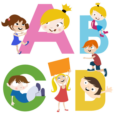 kids with letters