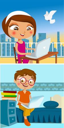 Illustration pour boy and girl chatting  - image libre de droit