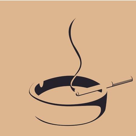 smoke cigarette and ashtray silhouette
