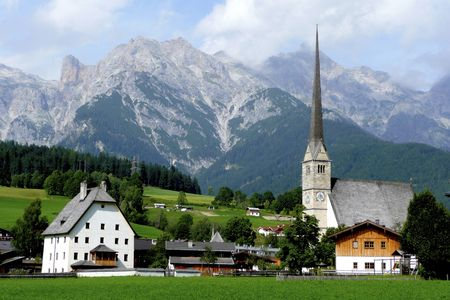 August morning is enjoyed in the village of Marie Alm, Austria.