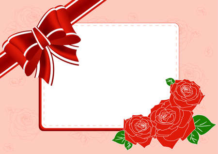 Greeting Card with roses, a bow and place for text