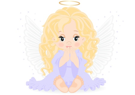 little angel in purple dress isolated on white background