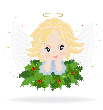 angel on spruce branches isolated on white background