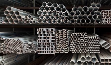 Metal pipe stack on shelf