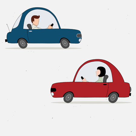 Vector illustration with two cartoon cars drivers