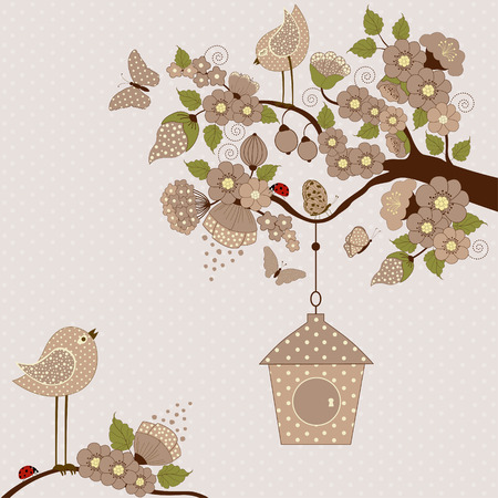 Floral branch with birds and butterflies