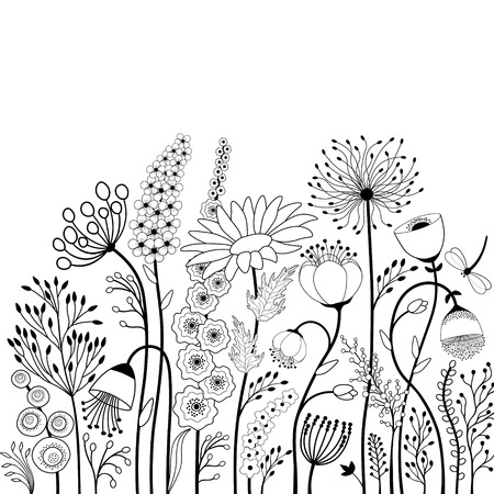 Illustration pour Abstract flowers and butterfly in black and white - image libre de droit