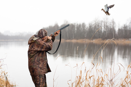 Photo pour hunter shooting from shotgun to the flying duck - image libre de droit