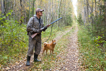 Foto de hunter with dog on the forest road during autumn hunt - Imagen libre de derechos