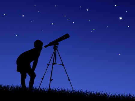 Photo for the boy looks at the stars through a telescope on the lawn - Royalty Free Image