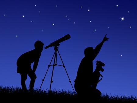 Foto de father and son study the starry sky through a telescope on the lawn - Imagen libre de derechos