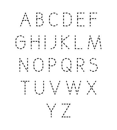Illustration pour Vector dotted line font. Modern geometric stylized letters. - image libre de droit