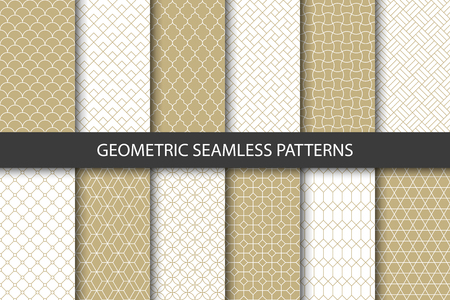 Photo pour Vector set of golden ornamental seamless patterns. Collection of geometric luxury modern patterns. Patterns added to the swatch panel. - image libre de droit