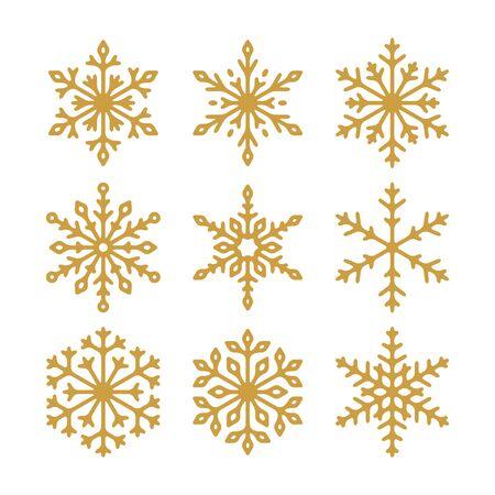 Illustration pour Set of vector golden snowflakes icons. Collection of illustration for your design. - image libre de droit