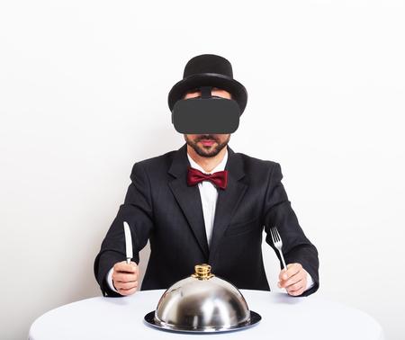 Photo pour Virtual dinner concept - image libre de droit
