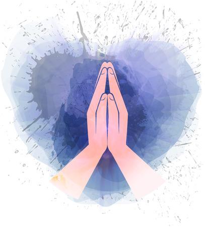 Illustration pour Icon hands in prayer watercolor - image libre de droit