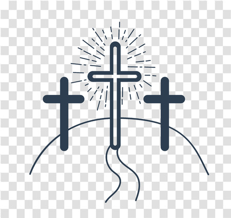 Illustration pour concept of the crucifixion in the form of 3 crosses and the way of salvationHoliday - Good Friday. Icon in the linear style - image libre de droit